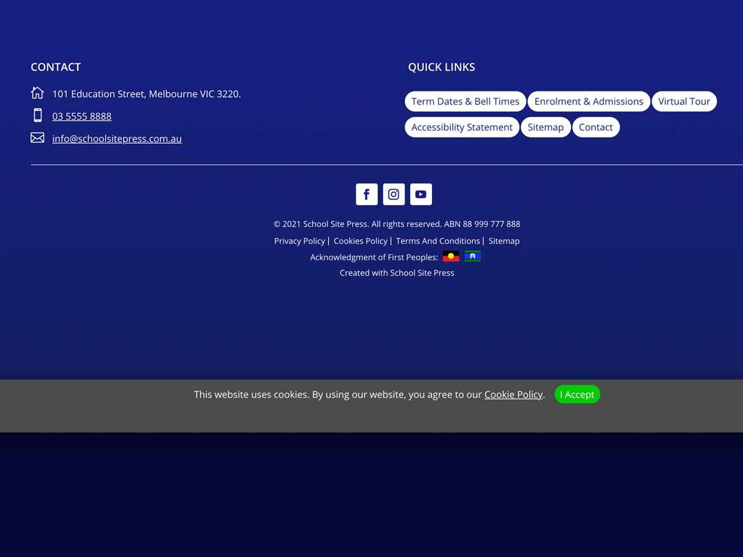 School Site Press Footer Design