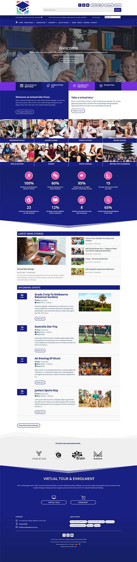 School website design graphic